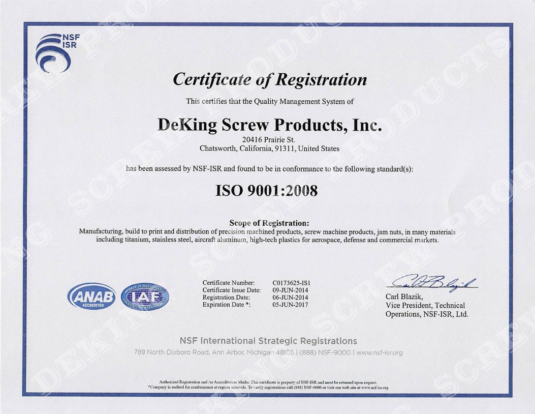 Deking Screw Products Is As91000 And Iso 90012008 Certified